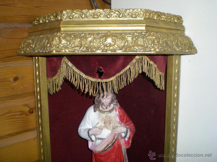 Arte: preciosa capilla antigua de madera tejido pasamanería metálica oro con iluminación siglo XVIII. - Foto 28 - 49418467