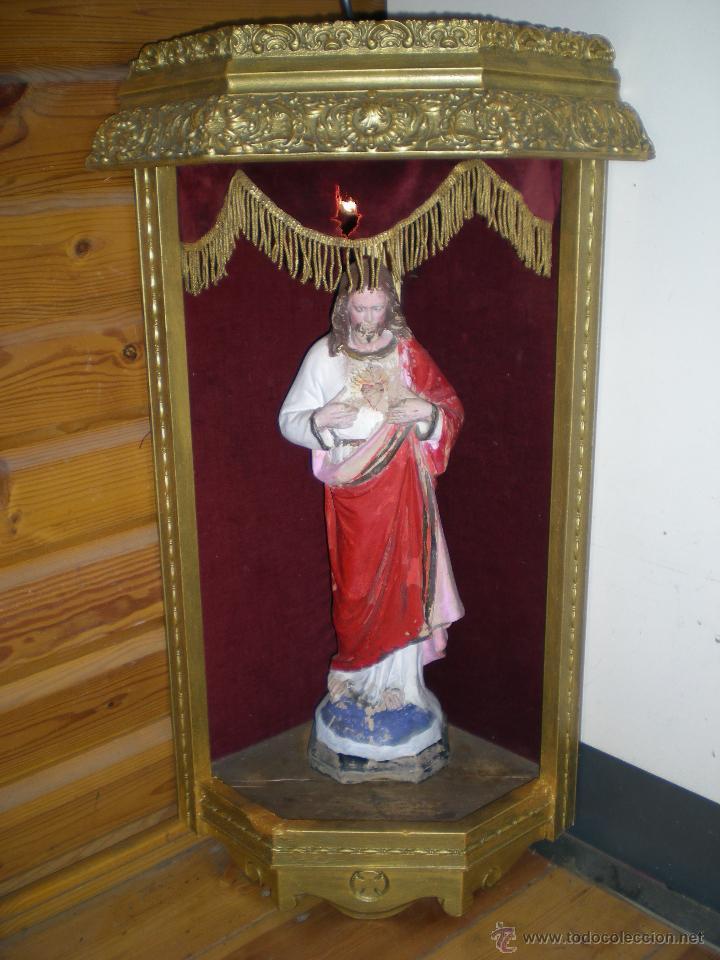 Arte: preciosa capilla antigua de madera tejido pasamanería metálica oro con iluminación siglo XVIII. - Foto 29 - 49418467