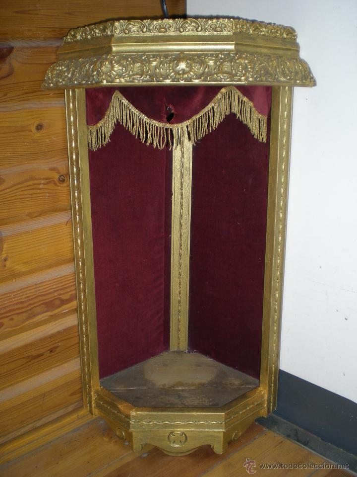 Arte: preciosa capilla antigua de madera tejido pasamanería metálica oro con iluminación siglo XVIII. - Foto 32 - 49418467