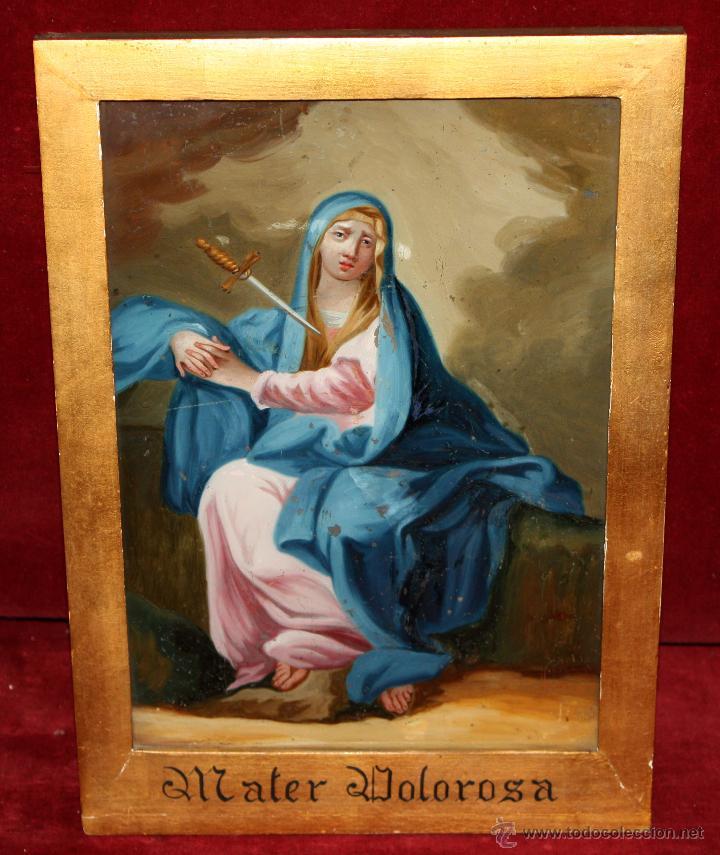 INTERESANTE OBRA PINTADA BAJO VIDRIO DE LA VIRGEN DOLOROSA DE FINALES SIGLO XVIII (Arte - Arte Religioso - Pintura Religiosa - Otros)