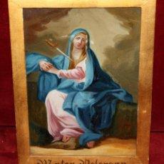 Arte: INTERESANTE OBRA PINTADA BAJO VIDRIO DE LA VIRGEN DOLOROSA DE FINALES SIGLO XVIII. Lote 49459052