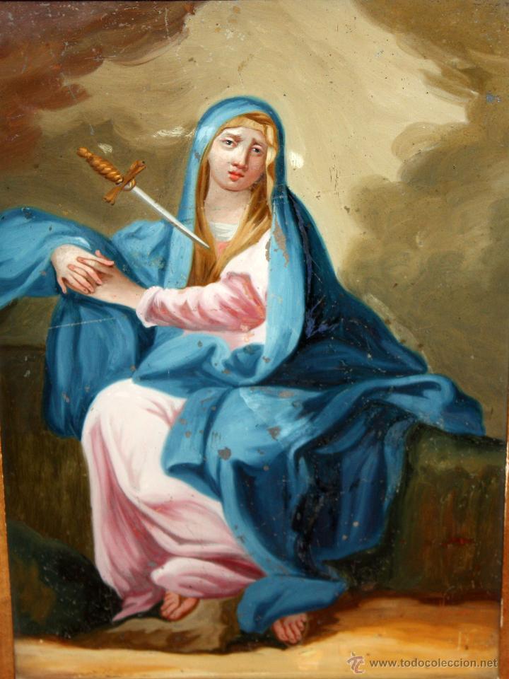 Arte: INTERESANTE OBRA PINTADA BAJO VIDRIO DE LA VIRGEN DOLOROSA DE FINALES SIGLO XVIII - Foto 2 - 49459052