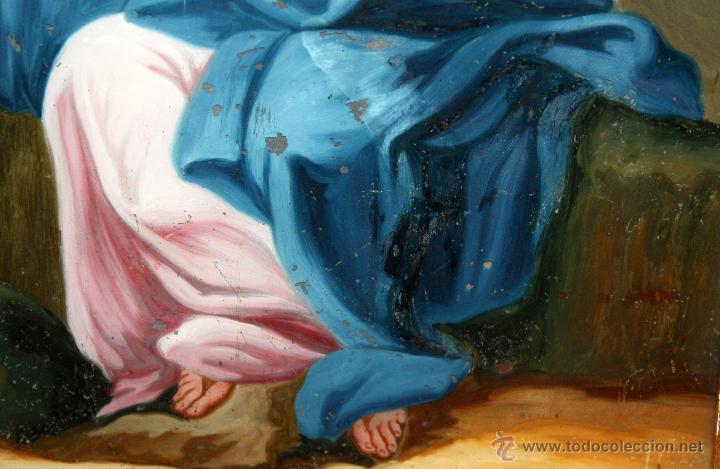 Arte: INTERESANTE OBRA PINTADA BAJO VIDRIO DE LA VIRGEN DOLOROSA DE FINALES SIGLO XVIII - Foto 3 - 49459052