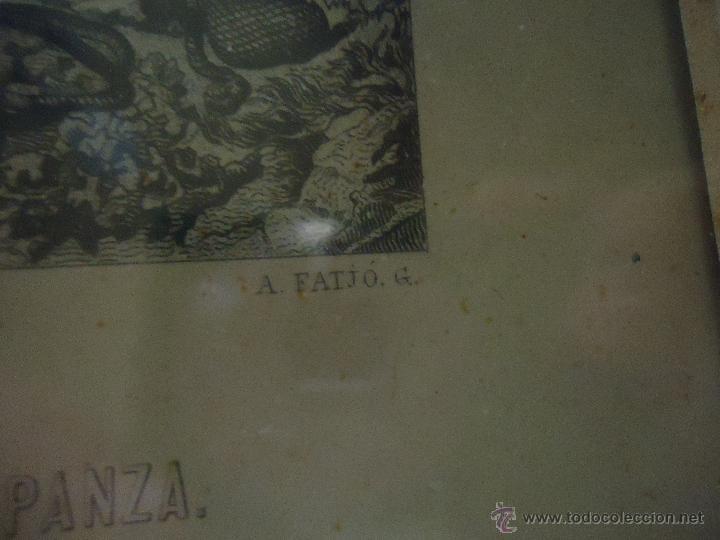 Arte: ESPECTACULAR GRABADO EL QUIJOTE, ENMARCADO MARCO ISABELINO ORO FINO, GRABADOR A FATIO Y R MARTIN - Foto 5 - 49485438