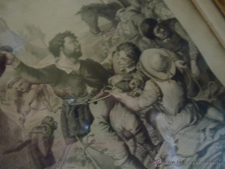 Arte: ESPECTACULAR GRABADO EL QUIJOTE, ENMARCADO MARCO ISABELINO ORO FINO, GRABADOR A FATIO Y R MARTIN - Foto 8 - 49485438