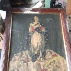 Arte: ESPECTACULAR GRABADO CON VIRGEN DOLOROSA COLOREADO Y PINTADO, ENMARCADO GRAN TAMAÑO . Lote 49509592