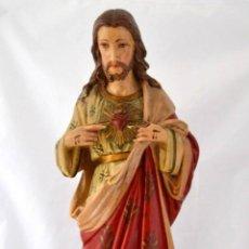 Arte: ANTIGUA Y GRAN IMAGEN SAGRADO CORAZON DE JESUS * 50 CM. Lote 49545908