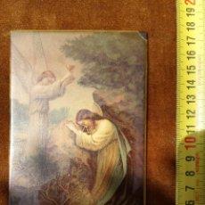 Arte: CUADRO PEQUEÑO CON ANGEL CON CALIZ Y CRISTO. Lote 49595452