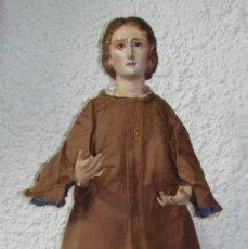 Arte: ANTIGUA TALLA RELIGIOSA DE MADERA. TIPO DE CAPIPOTA. S.XIX. OJOS DE CRISTAL.. Lote 49615084