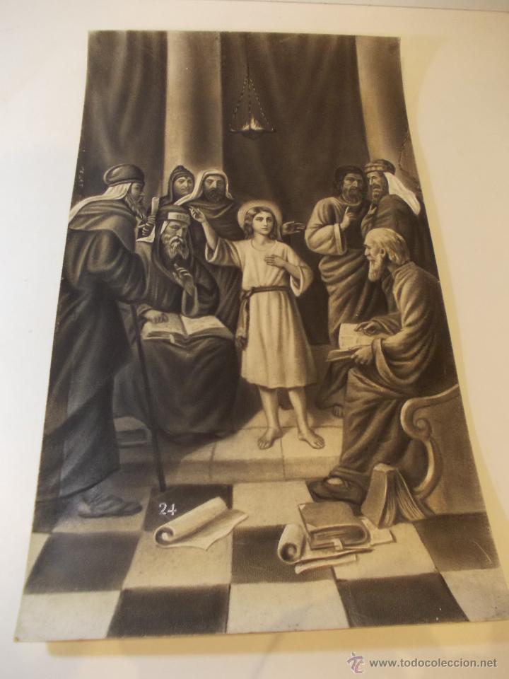 PRECIOSA Y ESPECTACULAR LITOGRAFIA DEL SIGLO XIX. EN CARTON DURO. MEDIDAS 29,5 X 50,5 CM (Arte - Arte Religioso - Litografías)