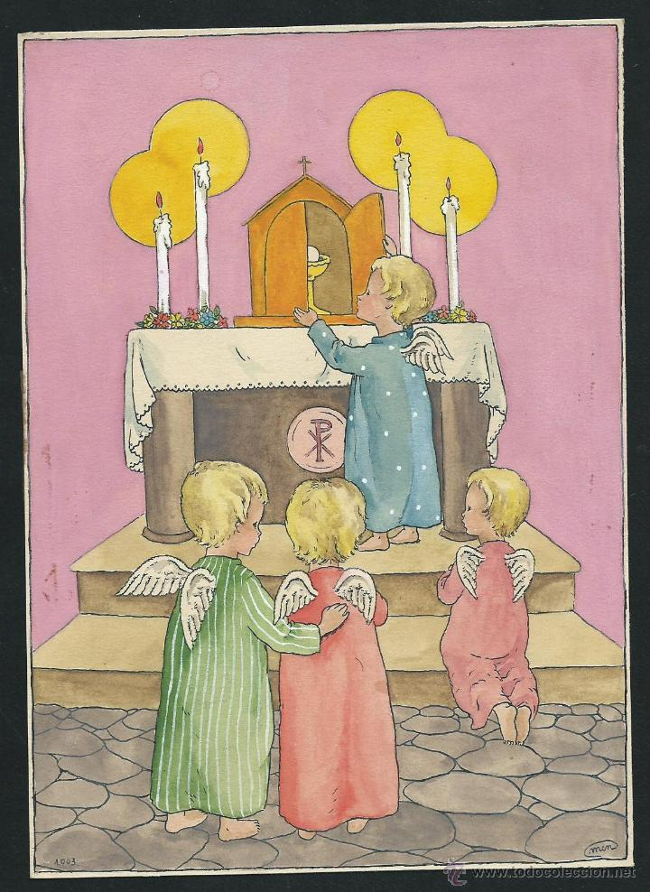 DIBUJO ANGELITOS, ORIGINAL DE ESTAMPA RELIGIOSA. FIRMADO. (Arte - Arte Religioso - Pintura Religiosa - Otros)