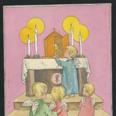 Art - Dibujo angelitos, original de Estampa Religiosa. Firmado. - 49637498