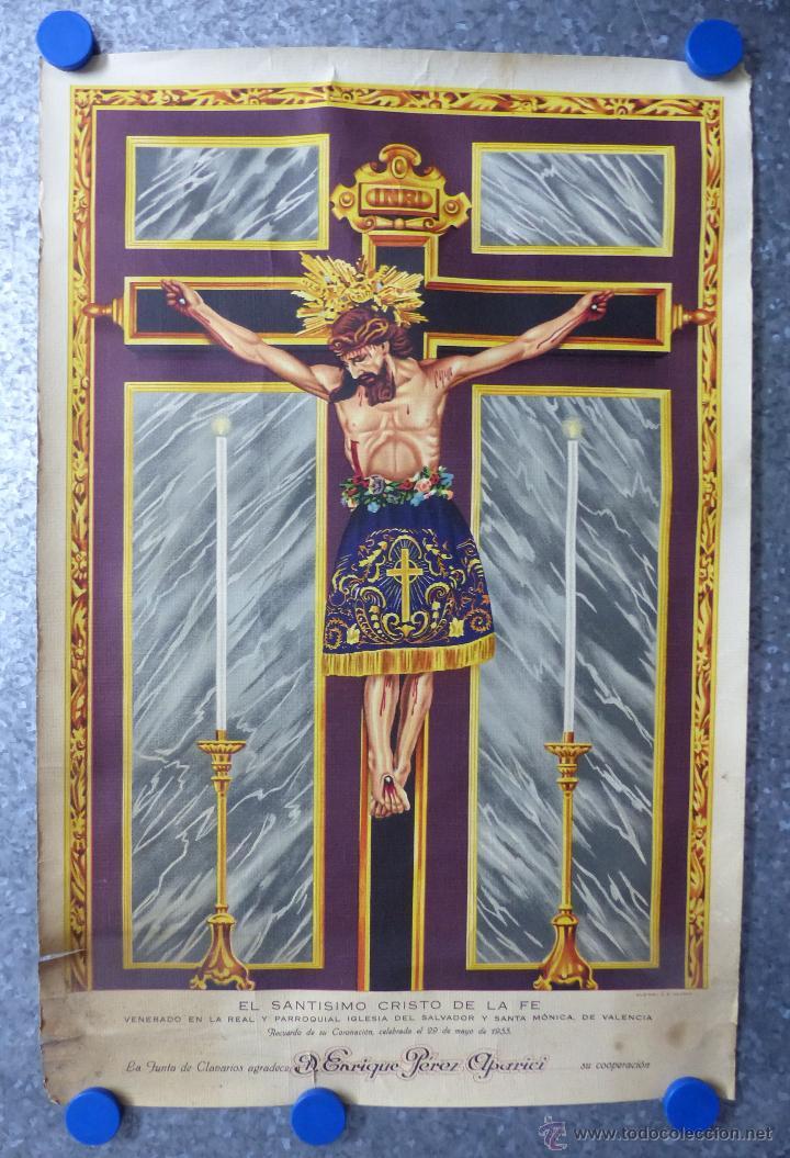 EL SANTISIMO CRISTO DE LA FE, RECUERDO DE SU CORONACION, MAYO DE 1955, IGLESIA SANTA MONICA VALENCIA (Arte - Arte Religioso - Litografías)