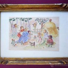 Arte: MONTSERRAT BARTA, 1906-1988. ACUARELA ORIGINAL DE TEMA INFANTIL RELIGIOSO. ENMARCADA. Lote 49652333