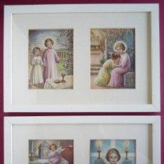 Arte: 2 CUADROS CON 4 ORIGINALES AL GOUACHE CON TEMAS RELIGIOSOS DE PRIMERA COMUNIÓN. Lote 49652811