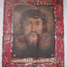 Arte: ANTIGUA LÁMINA DEL SANTO ROSTRO DE JAEN CON MARCO BORDADO EN CHAPAS DE LATÓN Y COBRE.. Lote 49660719