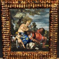 Arte: VENUS Y ADONIS. GOUACHE SOBRE CARTÓN DE PRINCIPIOS DEL SIGLO XX. Lote 49666239