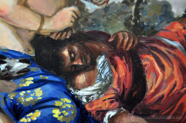 Arte: VENUS Y ADONIS. GOUACHE SOBRE CARTÓN DE PRINCIPIOS DEL SIGLO XX - Foto 8 - 49666239