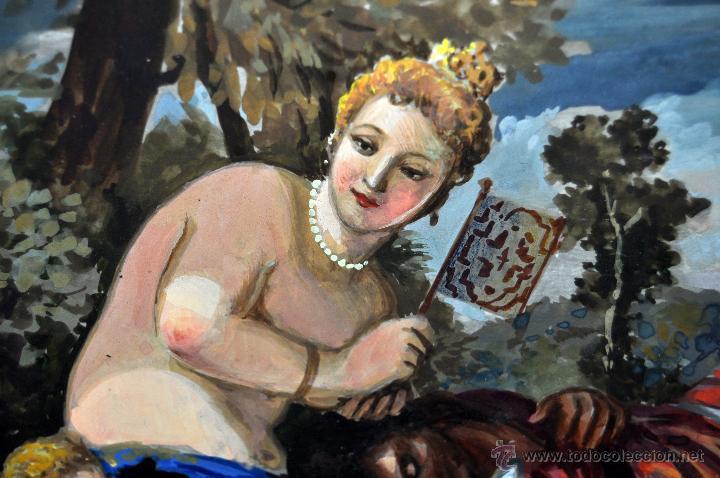 Arte: VENUS Y ADONIS. GOUACHE SOBRE CARTÓN DE PRINCIPIOS DEL SIGLO XX - Foto 9 - 49666239