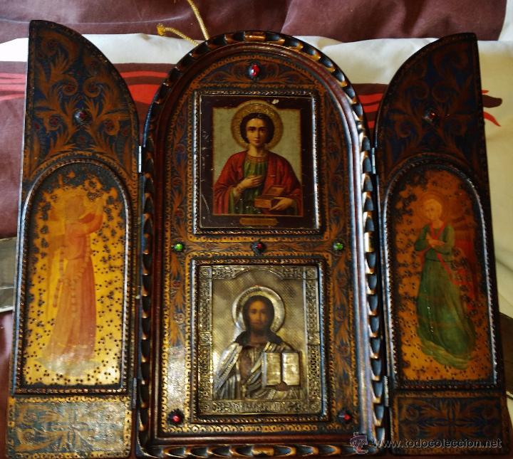 TRIPTICO CON DOS ICONOS RUSOS QUE PERTENECIERON A UN AFAMADO VOLUNTARIO DE LA DIVISION AZUL (Arte - Arte Religioso - Trípticos)