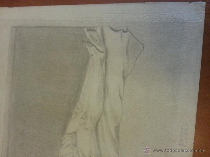 Arte: MARCO MADERA DIBUJO LAPIZ CRISTO YACENTE SANTO ENTIERRO ANTIGUO FIRMA PAPEL SELLO RELIVEVE TORRAS - Foto 4 - 49858408