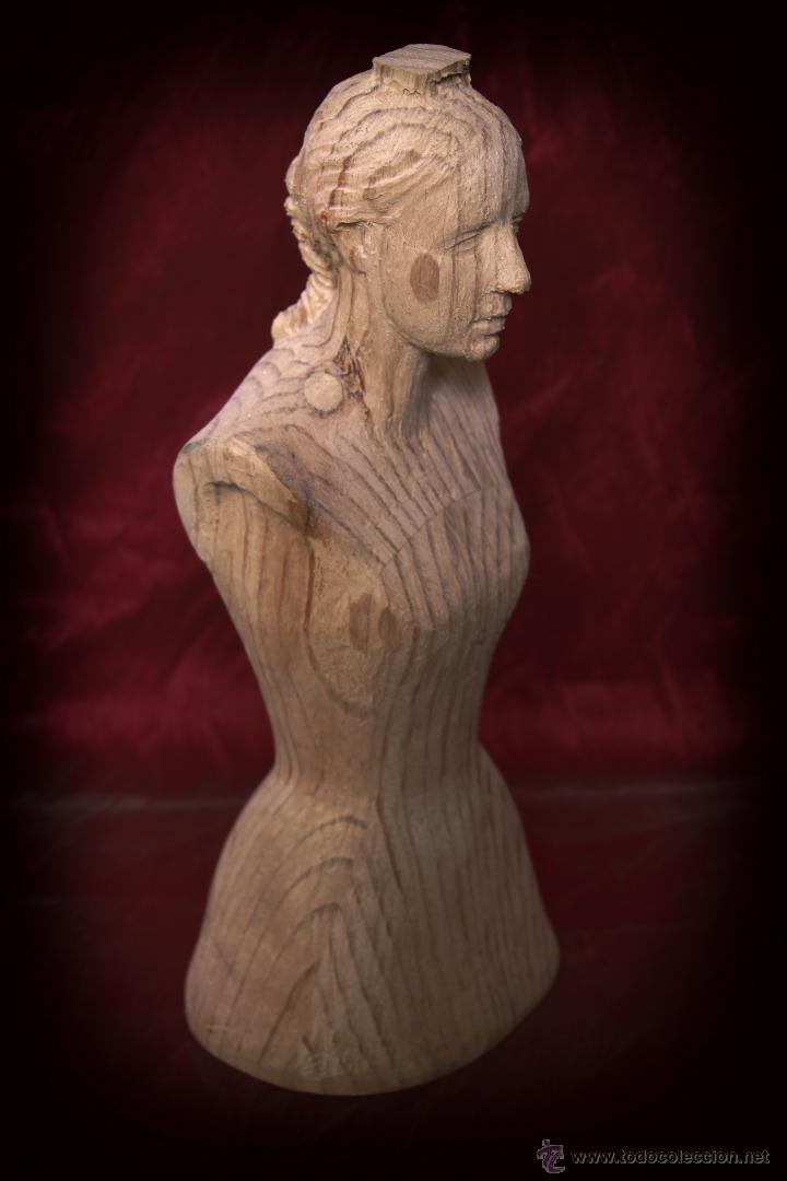 Arte: Busto de virgen en madera de pino. - Foto 2 - 49862142