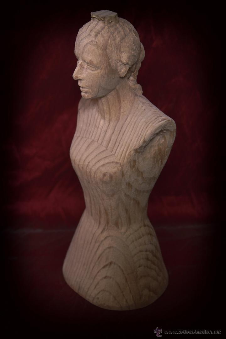 Arte: Busto de virgen en madera de pino. - Foto 3 - 49862142