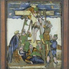 Arte: F2-006. DESCENDIMIENTO DE LA CRUZ. ESMALTE SOBRE VIDRIO. SIGLO XVII-XVIII. Lote 49918694