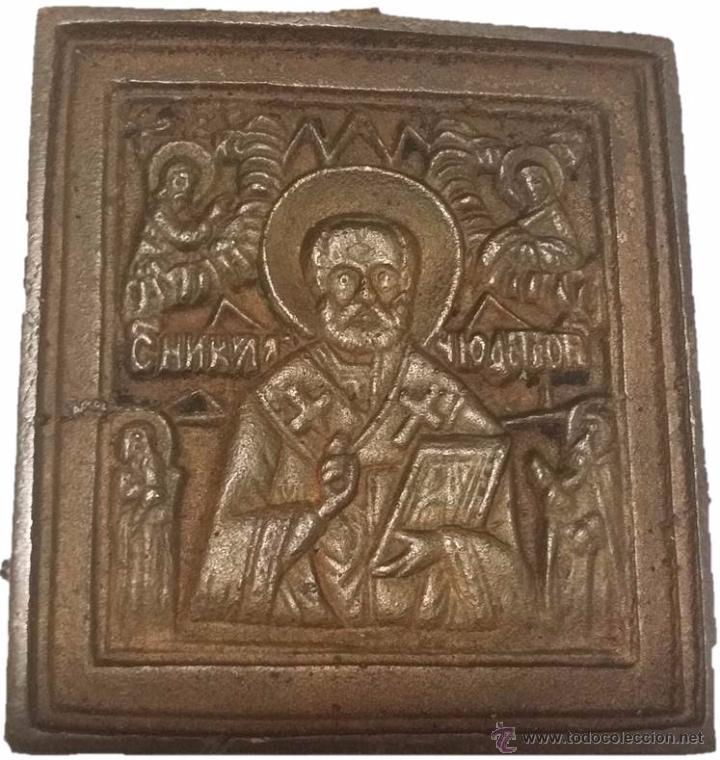 PORTAPAZ- ICONO DE BRONCE SAN NICOLAS (Arte - Arte Religioso - Iconos)