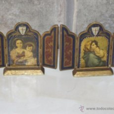Arte: ANTIGUO JUEGO DE TRIPTICO. ICONO RELIGIOSO, PEQUEÑOS DE MADERA.LAMINA. 2 DIFERENTES. Lote 49967000