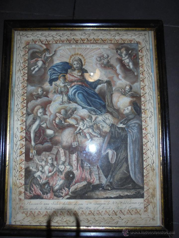 (M) ANTIGUO GRABADO S. XVIII ENMARCADO COLOREADO ,Y CENEFA REALIZADA A PLUMA Nª SRA.DEL CARMEN . (Arte - Arte Religioso - Grabados)