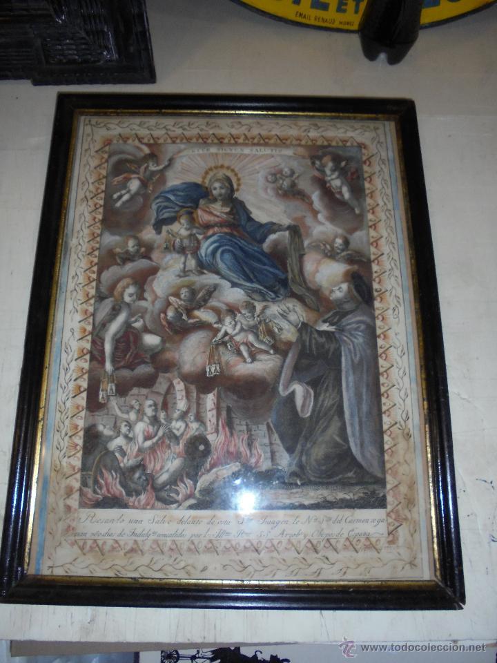 Arte: (M) ANTIGUO GRABADO S. XVIII ENMARCADO COLOREADO ,Y CENEFA REALIZADA A PLUMA Nª Sra.DEL CARMEN . - Foto 2 - 50039211