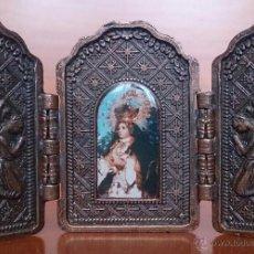 Arte: TRÍPTICO ANTIGUO EN COBRE NUESTRA SEÑORA DE LOS REMEDIOS ( JAEN ) Y SUS QUERUBINES PROTECTORES .. Lote 50043693