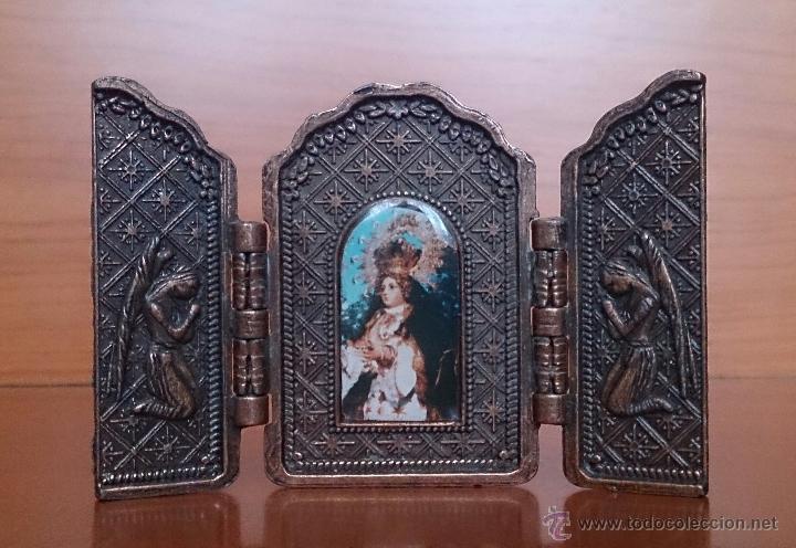 Arte: Tríptico antiguo en cobre Nuestra Señora de los Remedios ( Jaen ) y sus querubines protectores . - Foto 3 - 50043693