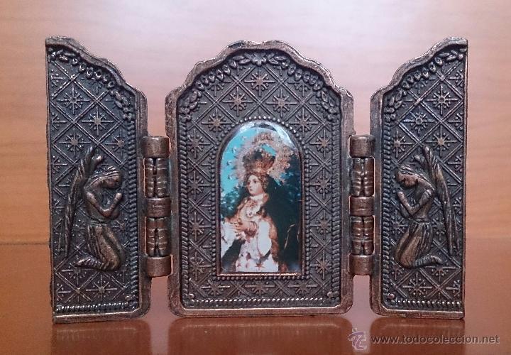 Arte: Tríptico antiguo en cobre Nuestra Señora de los Remedios ( Jaen ) y sus querubines protectores . - Foto 7 - 50043693