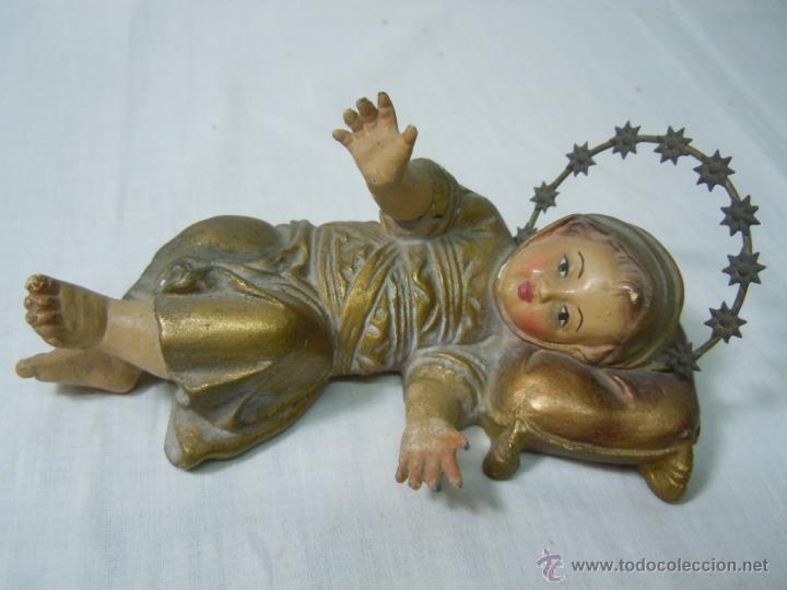 VIRGEN NIÑA ANTIGUA PROBABLEMENTE DE PASTA DE OLOT POLICROMADA. FINALES S.XIX (Arte - Arte Religioso - Escultura)