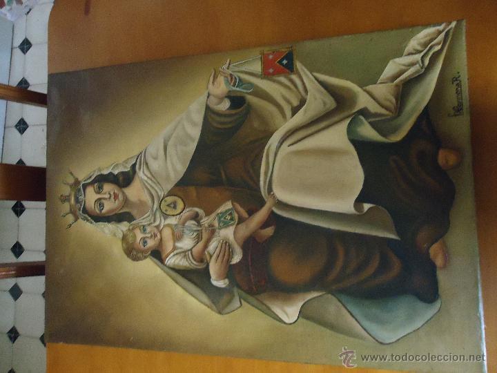 Arte: PINTURA OLEO SOBRE LIENZO ANTIGUA VIRGEN DEL CARMEN FIRMADA AUTOR F. CARMONA R. - Foto 11 - 50134990
