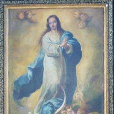 Arte: INMACULADA SEGÚN MURILLO OLEO SOBRE LIENZO. 96 X 69 CM. HACIA 1900.. Lote 50251801