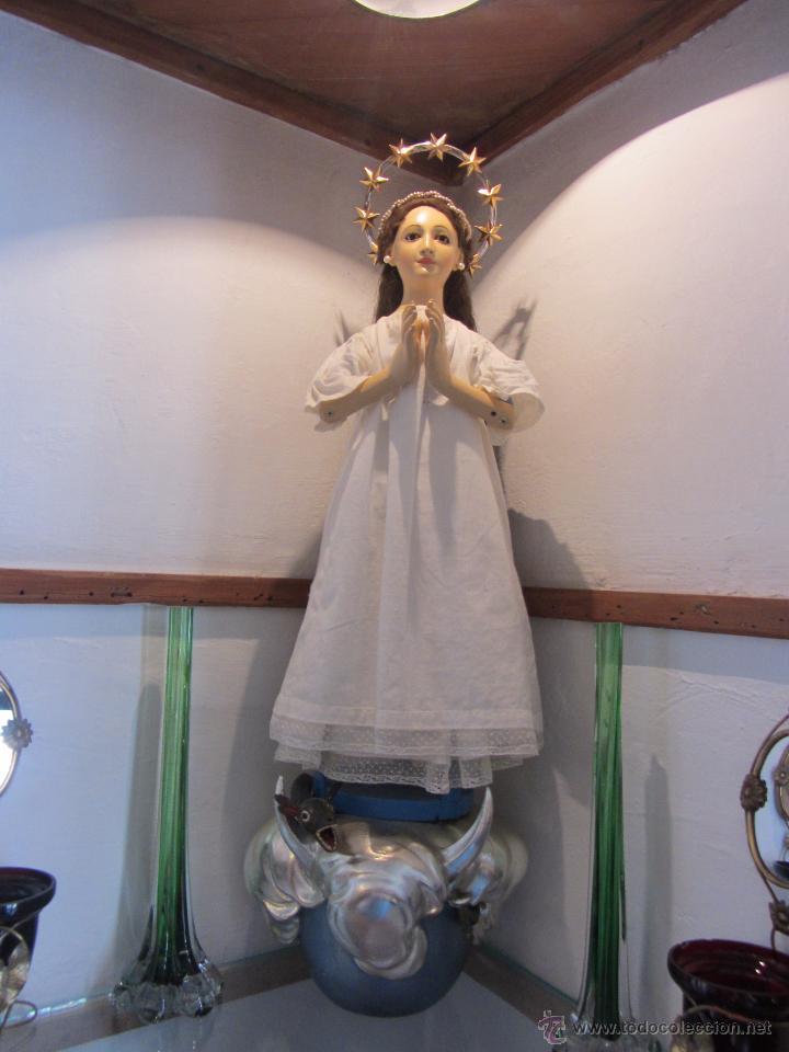 Arte: Escultura en Madera Virgen Inmaculada Cap i Pota XIX - Foto 11 - 45149361