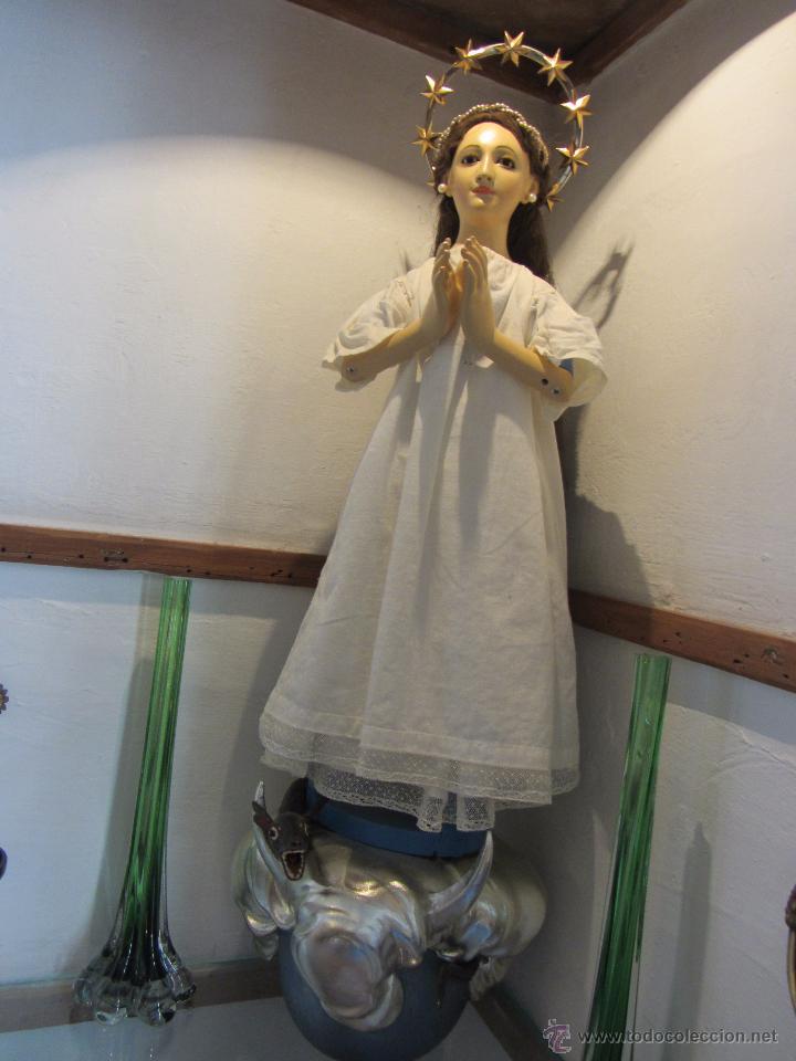 Arte: Escultura en Madera Virgen Inmaculada Cap i Pota XIX - Foto 13 - 45149361