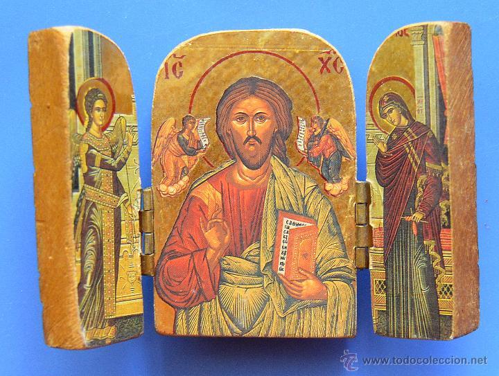 PEQUEÑO TRIPTICO DE MADERA TALLADA (Arte - Arte Religioso - Trípticos)