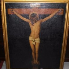 Arte: OLEO SOBRE LIENZO. CRISTO CRUCIFICADO. S.XIX. (85 CM X 66 CM). Lote 50354015