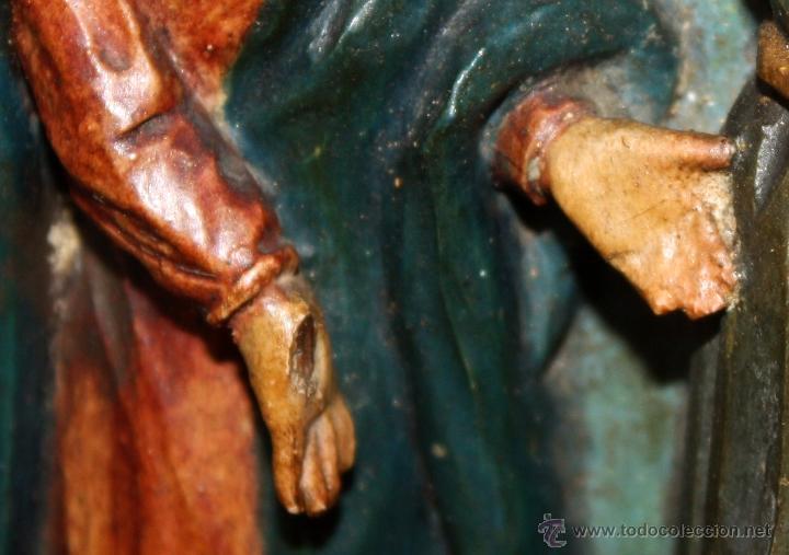 Arte: LA CRUCIFICCIÓN DE JESÚS. GRAN URNA TIPO CAPILLA DEL SIGLO XVIII EN MADERA TALLADA Y POLICROMADA - Foto 15 - 50388694