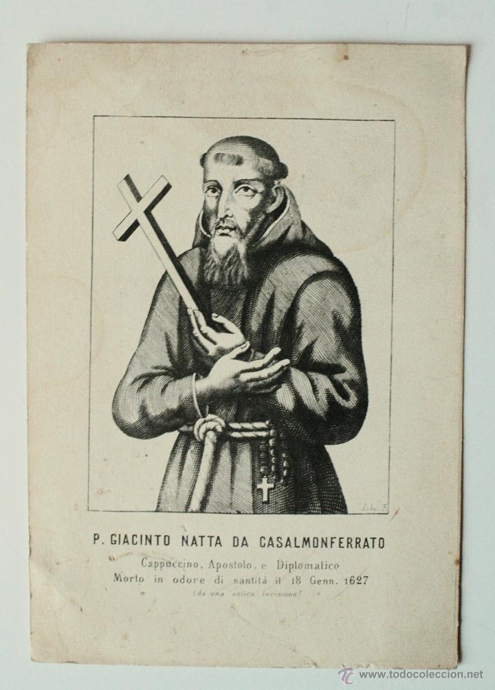 GRABADO ANTIGUO DE DEL PADRE GIACINTO NATTA DA CASALMONFERRATO, MUERTO EN 1627 (Arte - Arte Religioso - Grabados)