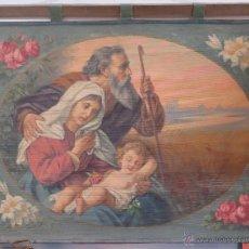 Arte: ANTIGUO Y BONITO OLEO S/ TAPIZ. SAGRADA FAMILIA. FIRMADO. FINALES SIGLO XIX. Lote 50506881