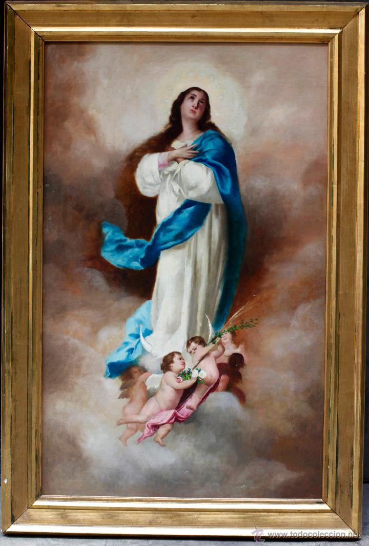 VIRGEN PURÍSIMA, ÓLEO SOBRE TELA 90X56CM. MARCO: 70X103 CM. (Arte - Arte Religioso - Pintura Religiosa - Oleo)