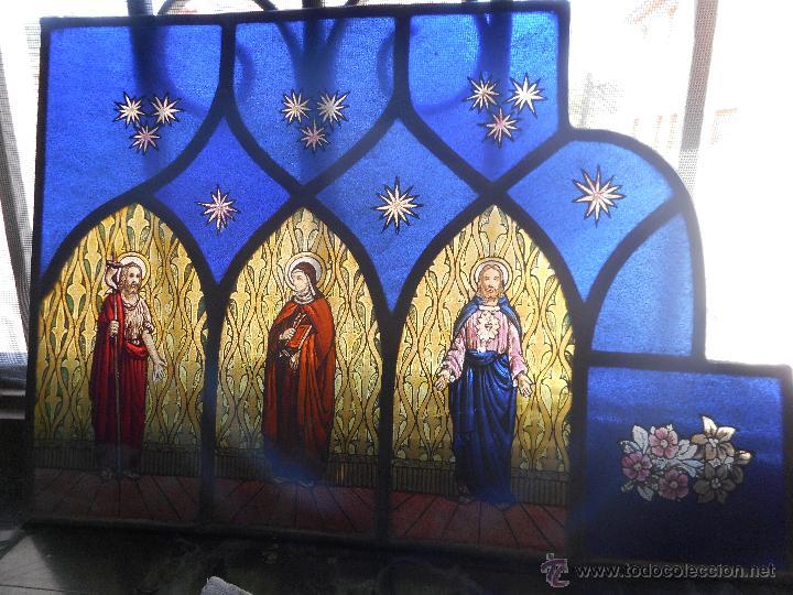 PRECIOSA VIDRIERA EMPLOMADA VITRAL GOTICO (Arte - Arte Religioso - Pintura Religiosa - Otros)