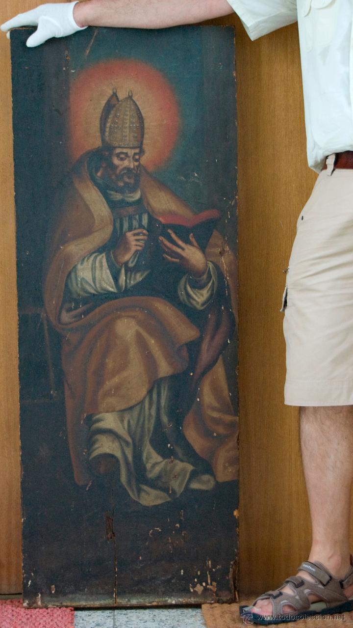 Arte: cuadro pintura antigua religiosa padre de la iglesia siglo XVIII - Foto 2 - 50595616