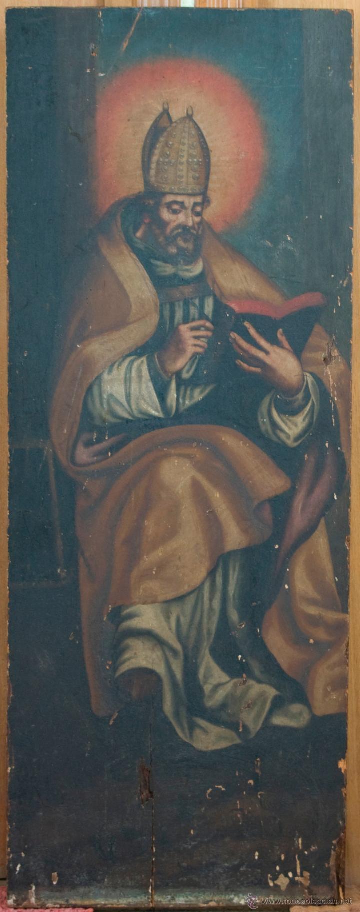 Arte: cuadro pintura antigua religiosa padre de la iglesia siglo XVIII - Foto 3 - 50595616