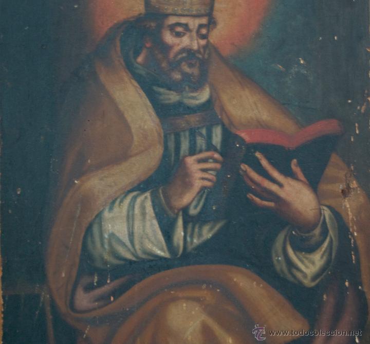 Arte: cuadro pintura antigua religiosa padre de la iglesia siglo XVIII - Foto 4 - 50595616